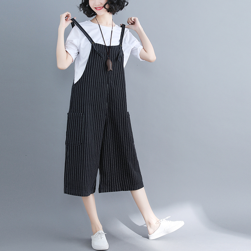 #2122 2019 Summer Denim Overalls   Wide     Leg     Pants   For Women Fashion Striped Thin Calf-Length   Wide     Pants   Side Big Pockets Plus Size