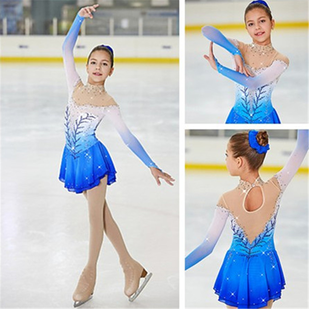 Figure Skating Dress Women's Girls' Ice Skating Dress Competitive performance clothing White blue gradient color Long sleeve