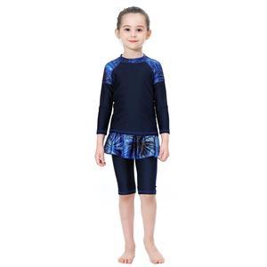 Image 3 - 3PCS Muslim Kids Girls Modesty Swimwear Swimsuit Burkini Islamic Clothing Full Cover Beachwear Bathing Suits Print Patchwork New