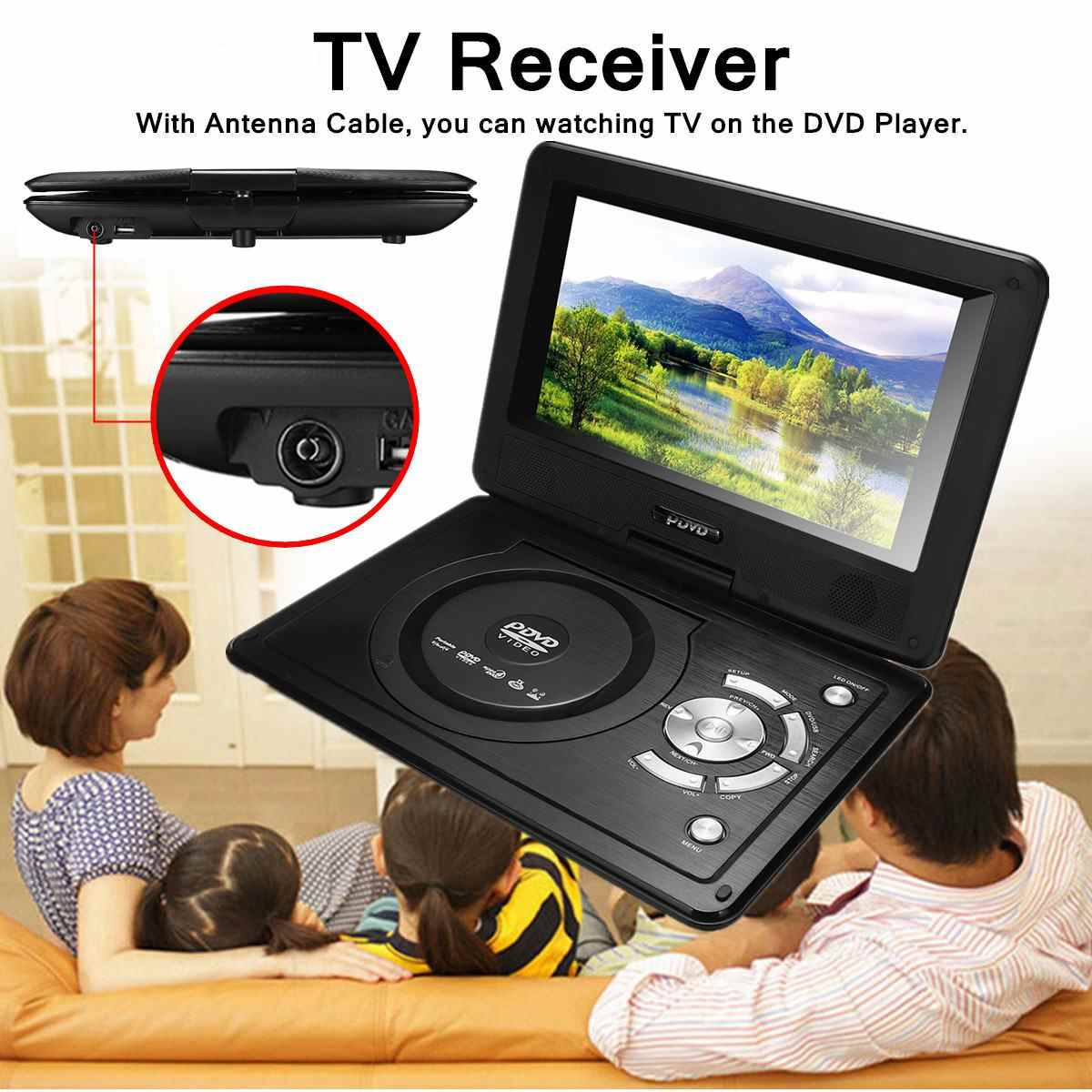 USB2.0 SD Adjust Viewing Angle Portable 8.8'' Car DVD Player Game Remote Control 270 Rotation Screen Support TV/Game Function