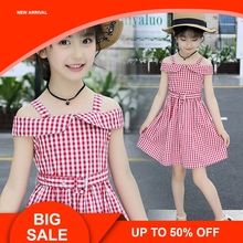 Girls vest Dress New Summer Casual Style Sweet Short Sleeve plaid Print Square Collar Design for Sleeveless Clothes