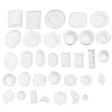 33 шт./компл. кукольный домик миниатюрная посуда пластиковая тарелка набор тарелок мини еда пластиковая посуда модельный набор