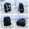 Chain USB Backpack Women Canvas 3pcs/set Women Backpack Teenager Girls Backpacks Shoulder Bag Female Student School Bags Tassel 2