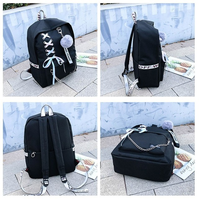 Chain USB Backpack Women Canvas 3pcs/set Women Backpack Teenager Girls Backpacks Shoulder Bag Female Student School Bags Tassel 2