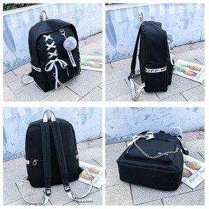 Image 3 - Łańcuch plecak z USB kobiety płótno 5 sztuk/zestaw kobiety plecak nastolatek plecaki dla dziewczyn torba na ramię kobieta Student School Bags Tassel