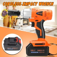 168VF 19800mah 300NM Brushless Cordless Electric Wrench Impact Socket W/Rechargeable Battery Hand Drill Installation Power Tools