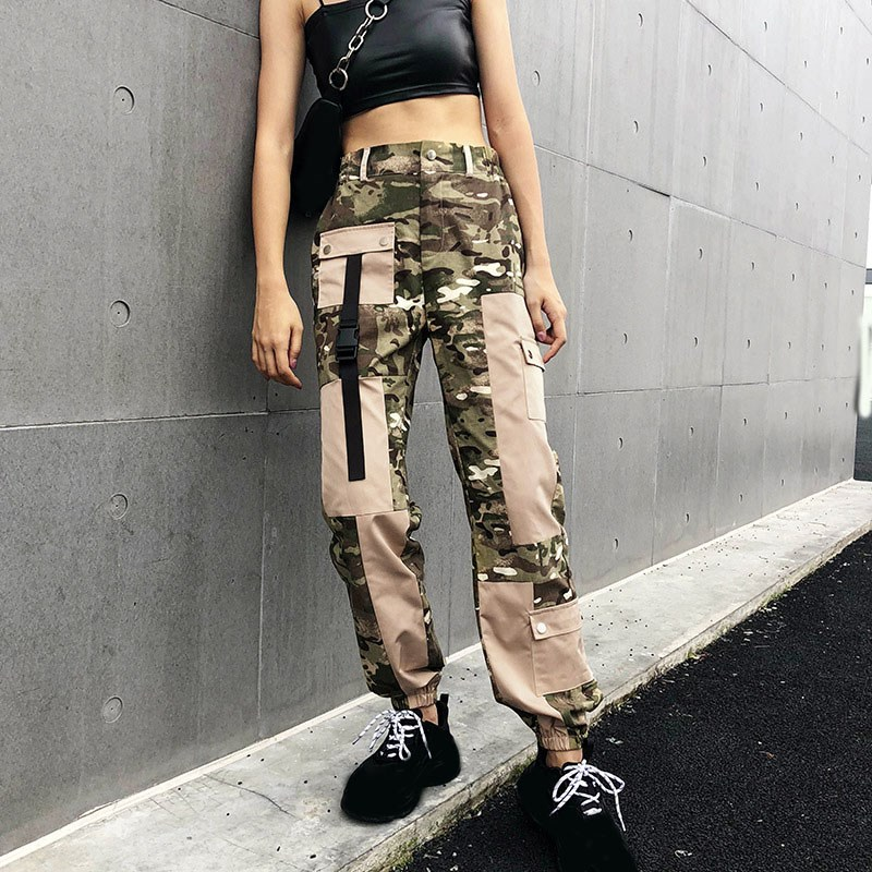 Fashion Women Patchwork Cargo   Pants   Camouflage Pockets High Waist   Pants   Loose Streetwear Pencil Trousers