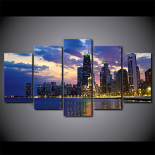Home Decor 5 Pieces Busy City Chicago Night View Poster High Quality Canvas Painting Print Wall Art Modern Modular Pictures