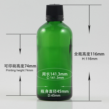 Hot sell empty 100ml medicine bottles green glass dropper bottle with proof cap