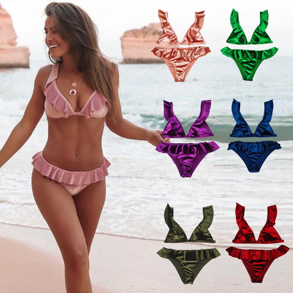 Hirigin Brand Swimwear Womens Ice Velvet Slik Swimwear Women Bikini 2019 Bandage Push-Up Bikini Set Ladie Beachwear Women Outfit