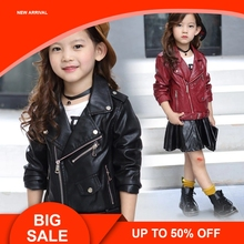 2019 Children PU Leather Jacket Girls Autumn belt Coat Spring Solid Casual Outerwear for kids