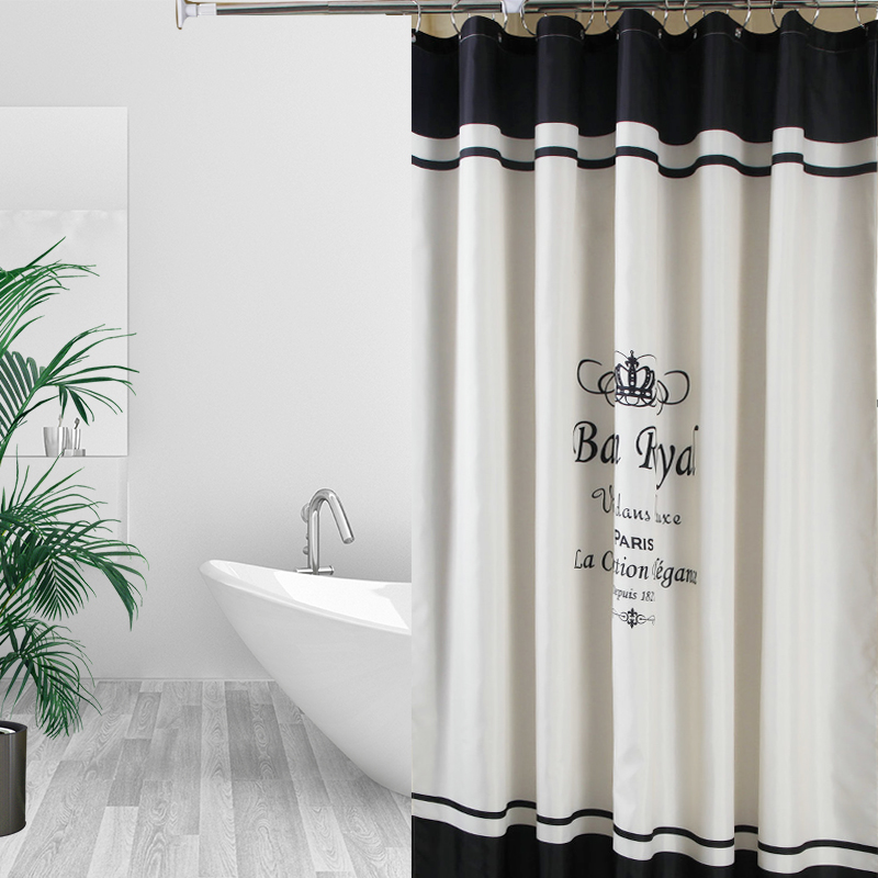 Polyester Fabric Shower Curtain Waterproof Home Bathroom s Crown Style Bath Crutain For The set