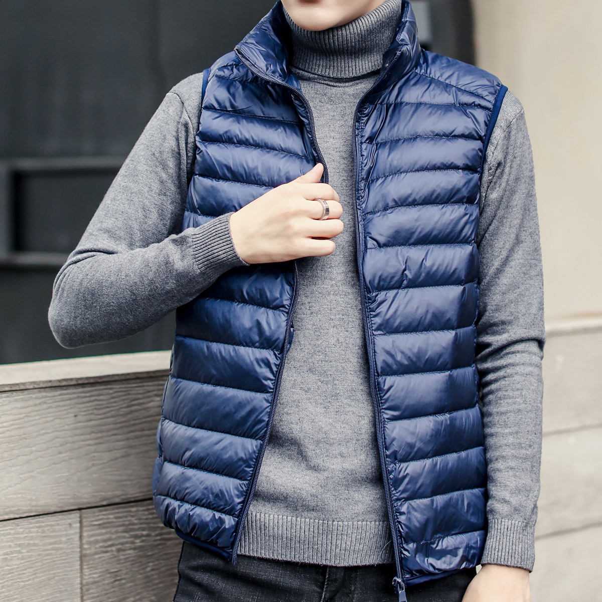 Winter thin solid color ultra light large size Down goose feather Coat men Man Vest zipper men 39 s clothing high quality hot sale in Down Jackets from Men 39 s Clothing