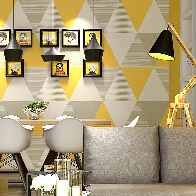Moderne mode jaune bleu chambre lavable Triangle papier peint rouleau décor à la maison Papel De Parede 3d Behang papier peint géométrique