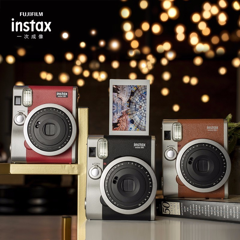 Câmera Fujifilm Instax Mini filmes 90 Genuíno Hot Venda nova foto instantânea 2 Cores marrom preto