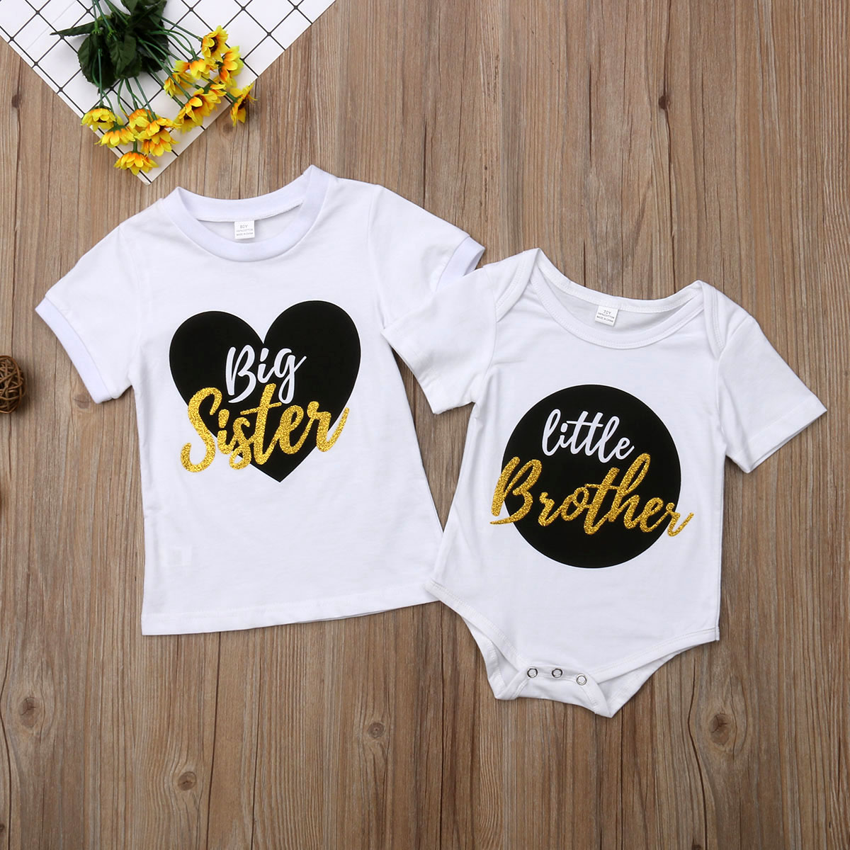 Cute Little Brother Big Sister Baby Boy Girl Clothes Cotton Usual Bodysuit Sister Girl Kids Tops T-shirt White