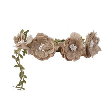 Bridal Jute Flower Garland Hair Band Floral Headband Bohemian Style Formal Bridal HeadWear Garland(China)