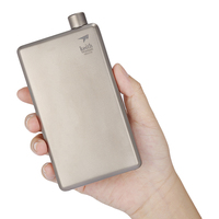 Keith 120ml Pure Titanium Liquor Hip Flask Funnel Portable Outdoor Camping Hiking Wine Bottle
