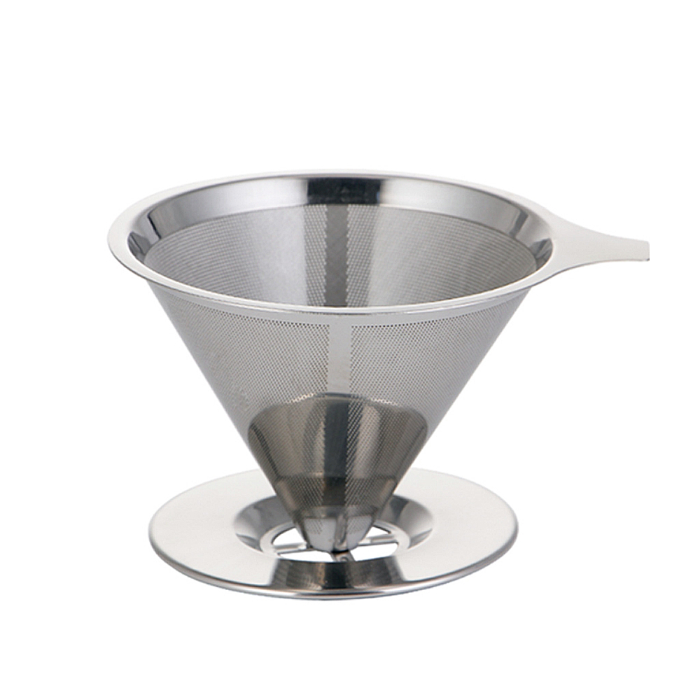 S.S. Coffee Filter Pour Over Funnel Brew Drip Tea Metal Mesh Basket Reusable Kitchen Coffeeware Heat Insulation Silicone Handle