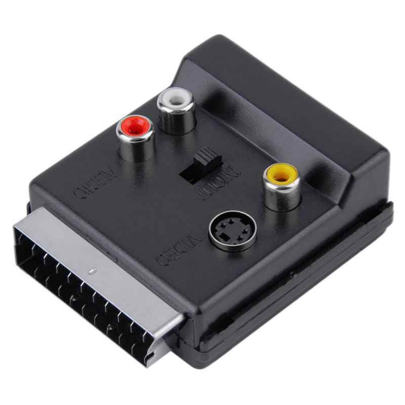 AABB-Newest Switchable Scart Male to Female S-Video 3 RCA Audio Adapter Convector