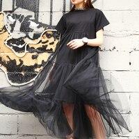 LANMREM Лето Новая мода 2019 большой размер черная строчка чистая пряжа круглый воротник короткий рукав Размер Свободное платье женское 3361.5XL