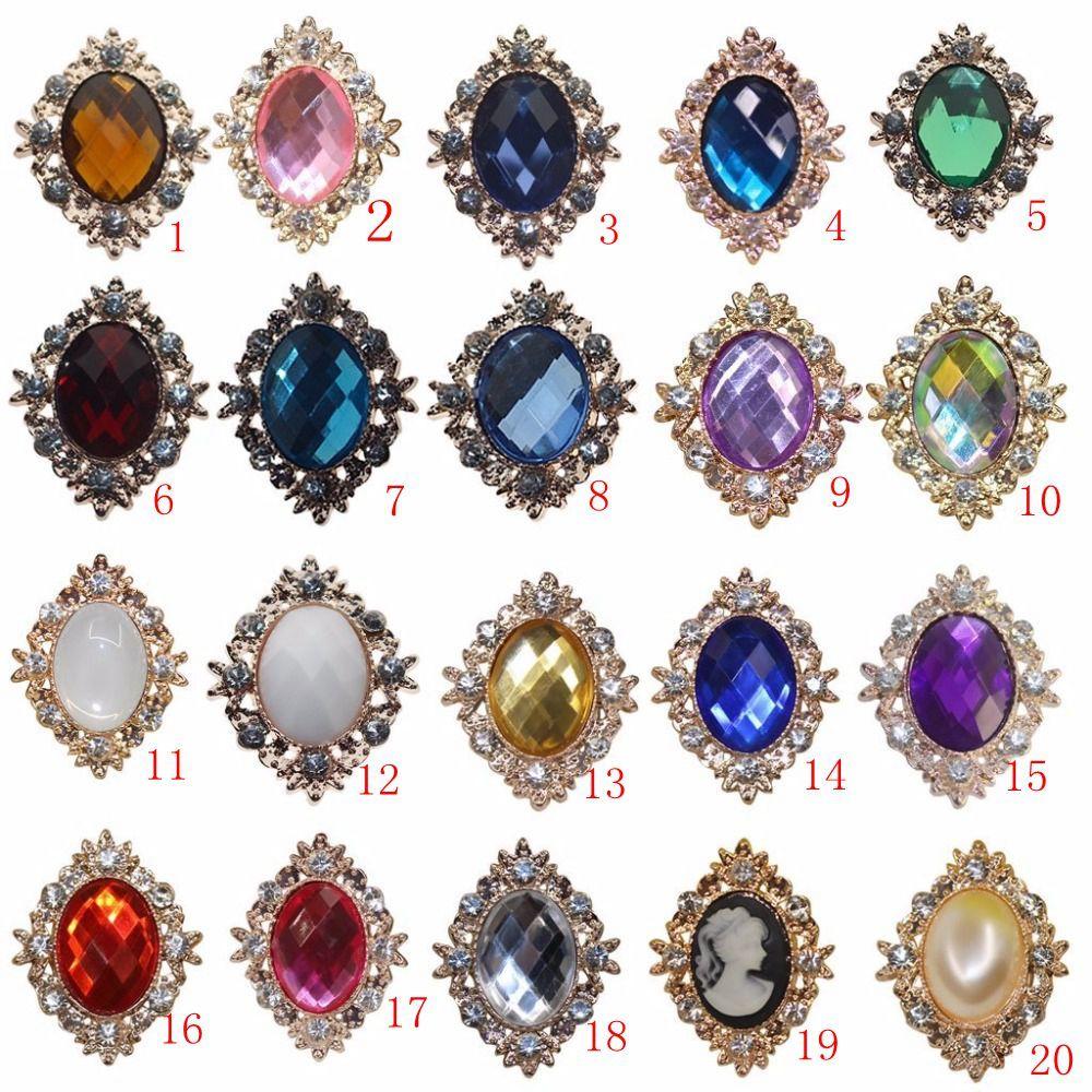 25x32mm Rhinestone Flatback Embellishments Trim Button Alloy Rhinestones Crystal Applique Acrylic DIY Metal Weddings Accessories