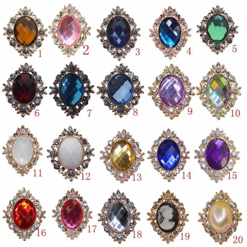 New Rhinestone Flatback Buttons 25*32mm Antique Alloy Acrylic DIY Wedding Accessories, Metal Flat Button, Bow Hair Accessories