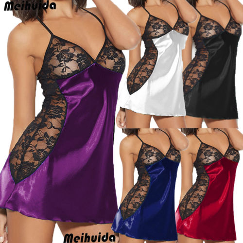 New Sexy Underwear Women Nightwear Short Mini Dress Lace   Sleepshirts   Plus Size 2019