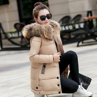Parka Coat 2019 Thick Warm Slim Down Parka Women Long Hooded Big Fur Collar Coat Winter Oversized Female Jacket Outwear