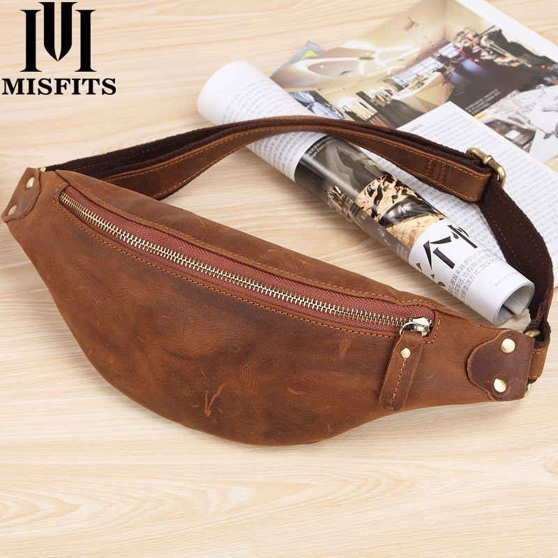 MISFITS Men Waist Bag Genuine Cow Leather Vintage Small Fanny Pack Male Waist Pack Travel Chest Bag For Cell Phone Belt Bag Man