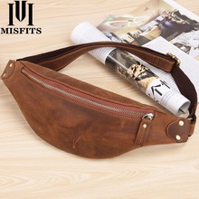 MISFITS men waist bag genuine cow leather vintage small fanny pack male travel chest for cell phone belt man