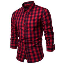 Mens Luxury Plaid Stylish Slim Fit Long Sleeve PU27