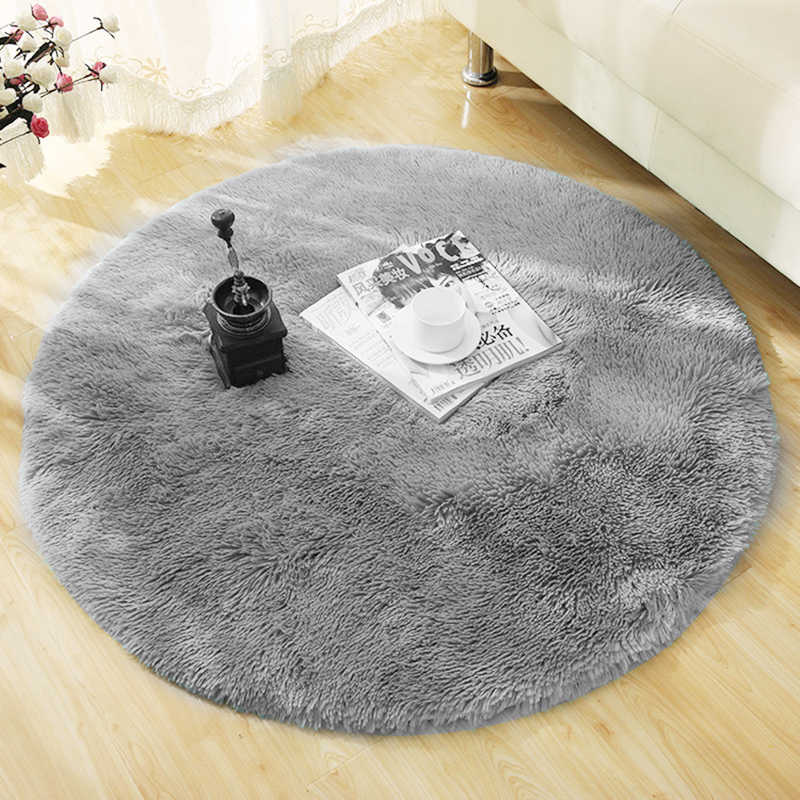 Fluffy Round Rug Carpets for Living Room Decor Faux Fur Carpet Kids Room Long Plush Rugs for Bedroom Shaggy Area Rug Modern 30
