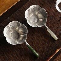 Kreative Tee Sieb Metall Zinn Tee Infuser Kong Fu Kreative Tee Filter Werkzeug Tray Edelstahl Blatt Form Küche Zubehör-in Teesiebe aus Heim und Garten bei