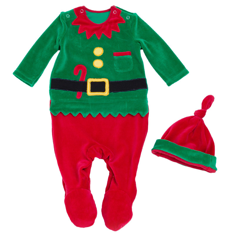 Baby Girl Boys Clothes My First Christmas Santa Claus Overalls Hat Long Sleeves Infant Newborn Romper Outfit 0 24M Party Gifts
