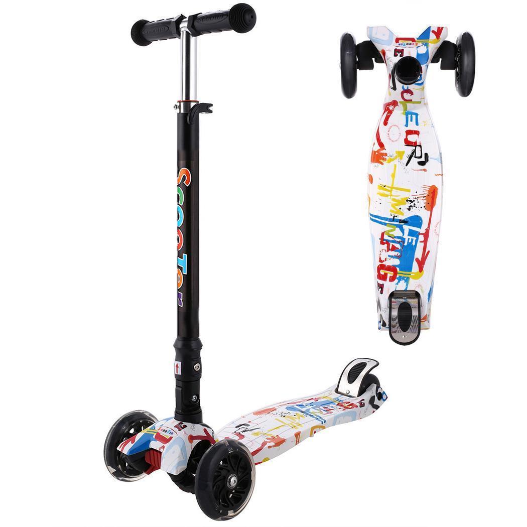 Trottinette enfant bébé enfant PU 4 roues à la mode jouet extérieur 2-14 ans musculation démontage plastique hauteur réglable