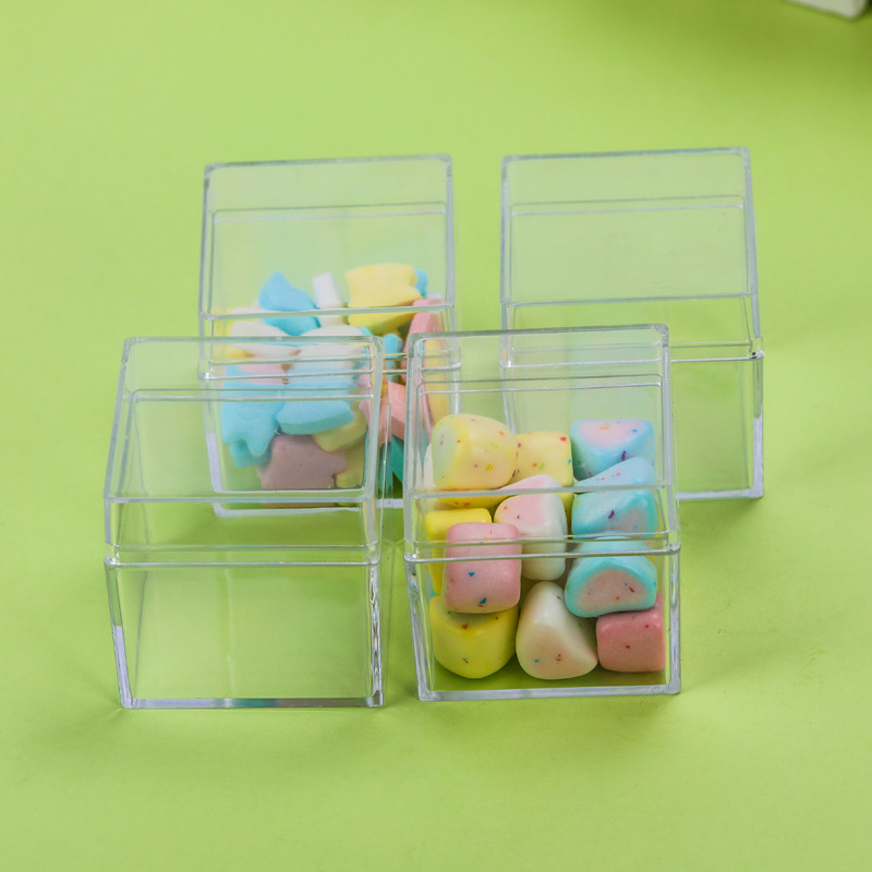 12PCS Hollow Cube Transparent Plastic Gift  Cookie Candy Box Biscuits Snack Imitate Crystal Box Birthday Wedding Party Supplies