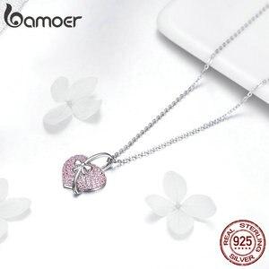 Image 3 - Bamoer coração colar de prata 925 luminoso rosa cz bowknot pingente colares para mulheres presentes de jóias finas para ela 45mm bsn049