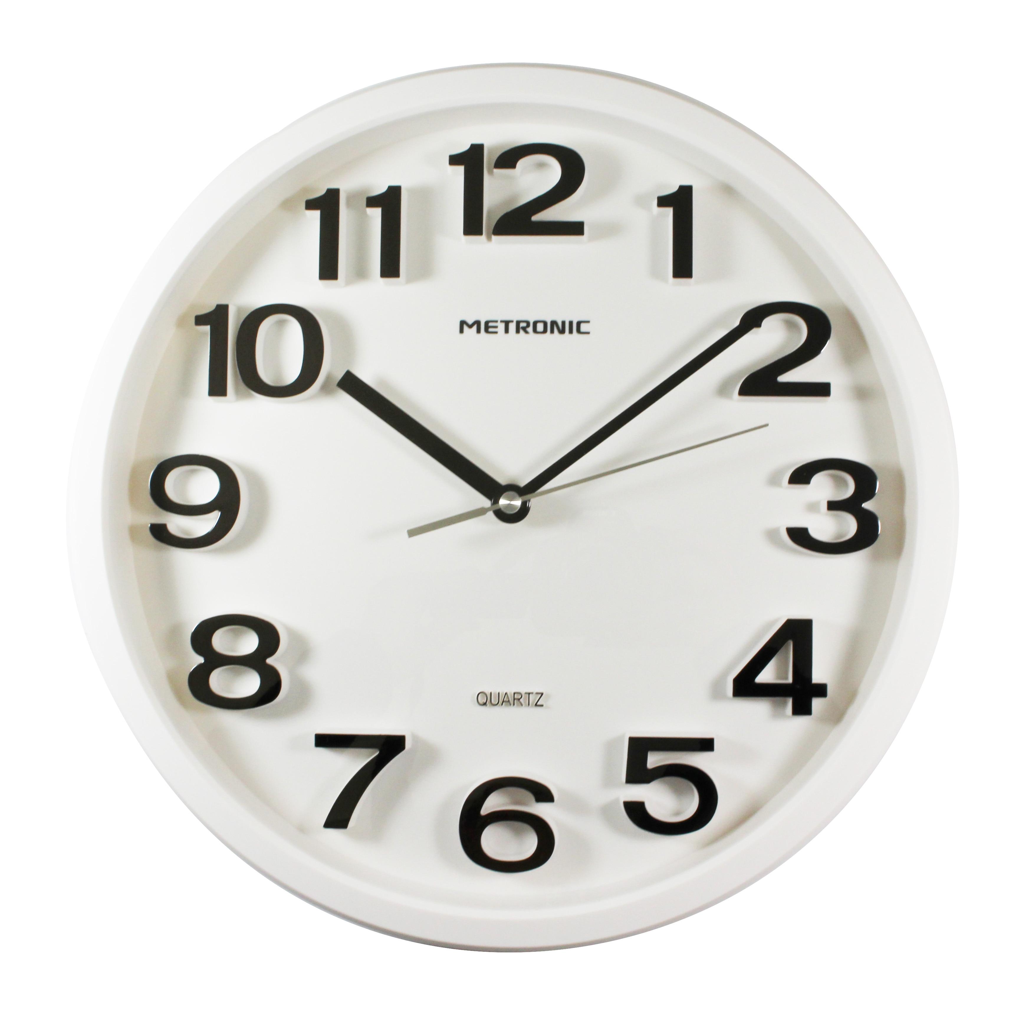 Metronic 477322 - Reloj De Pared, Movimiento De Cuarzo, Diametro 330mm, Grosor 55mm, Blanco