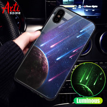 Luminous Glass Phone Case For iPhone 7 6 s 8 Plus Silicone Star Space Cover Case For iPhone X 10 XS MAX Luxury Case For iPhone 6(China)