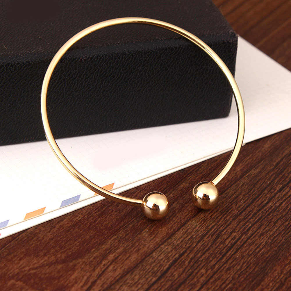 Simple Trendy Round Gold Silver Opening Cuff Bracelets Copper Alloy Ball Bangles Temperament Accessories Jewelry For Women Gifts
