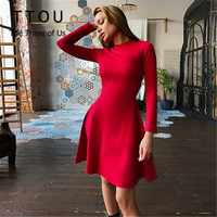 TTOU Women Long Sleeve One Piece Winter Bodycon Party Dress New Slim Elegant A-Line Dress Autumn Fashion O Neck Solid Dress