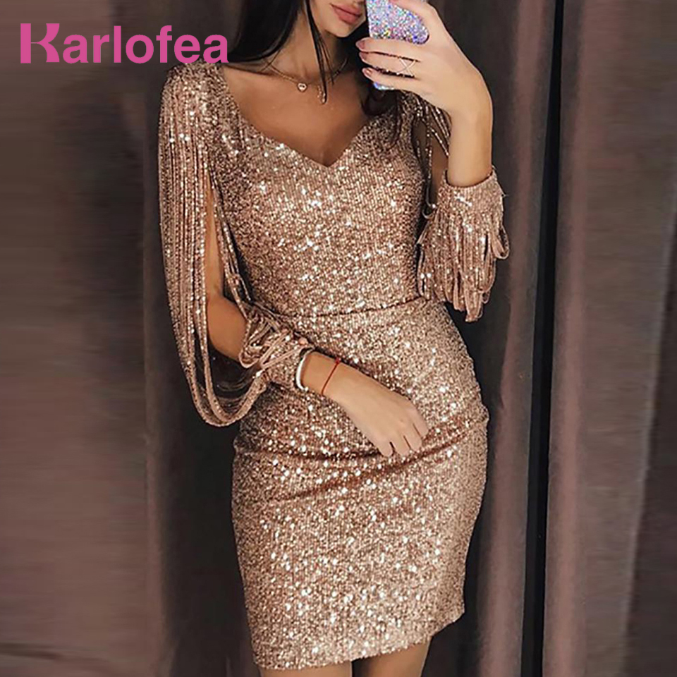 b5eee1789d US $28.23 49% OFF Karlofea Women Fashion Club Dress Office Lady Shiny  Sequin Solid Color Fringe Tassel Sleeve Partywear Chic Birthday Party Dress  -in ...