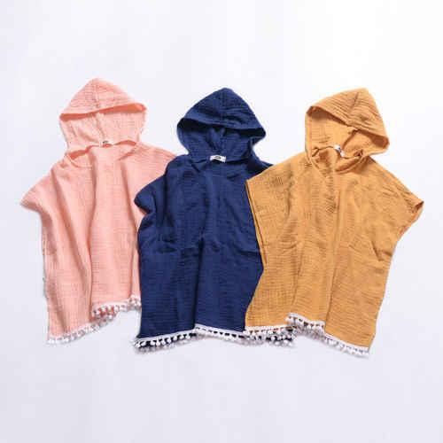 Дети для маленьких девочек длинное платье с накидкой с капюшоном плащ с бахромой свитер-пончо одежда