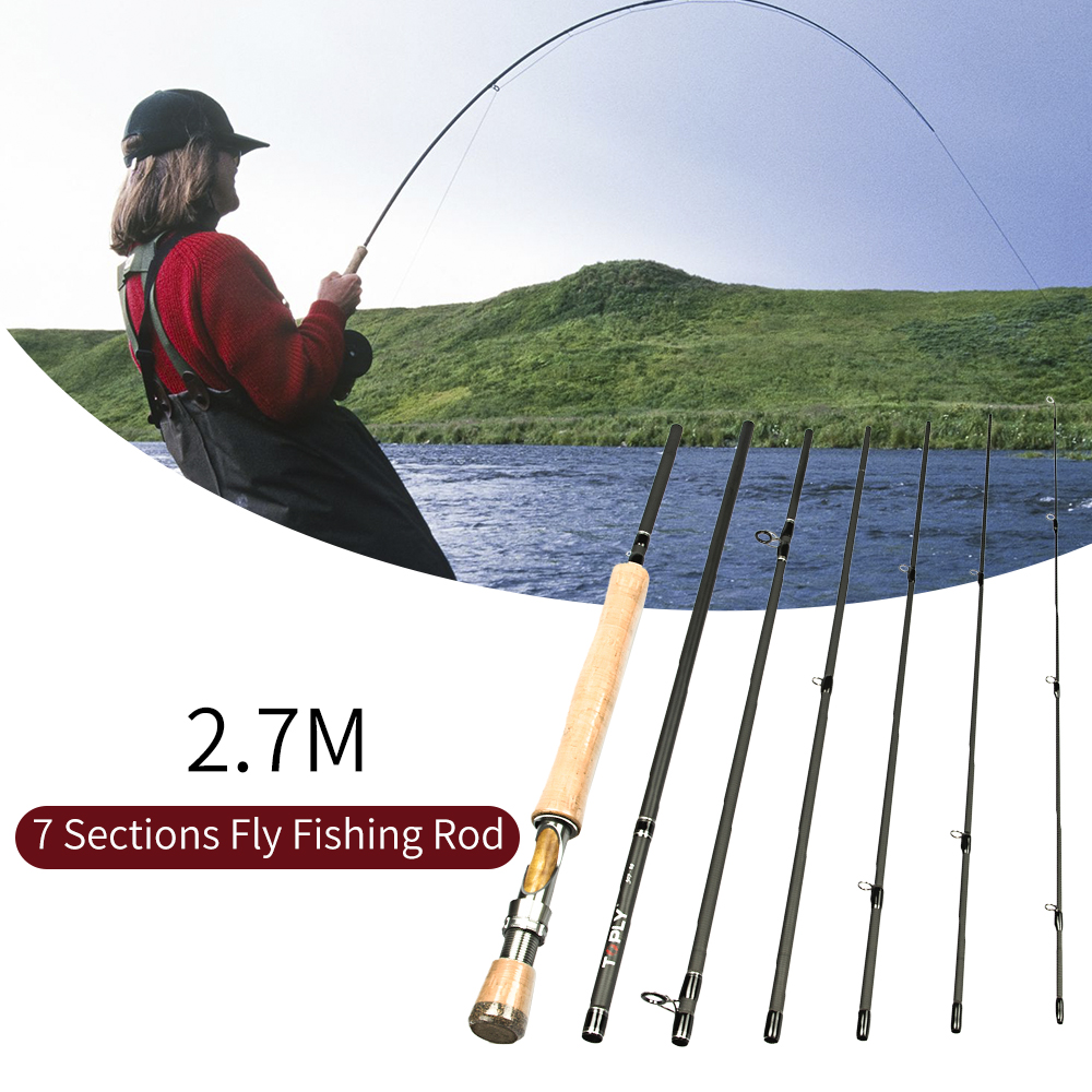 2 7M Portable Lightweight Fishing Rod with Wooden Handle 7 Sections Carbon Fly Fishing Rod for