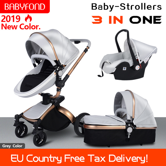 2019 PU Leather gold frame white baby stroller 360 degree rotation high landscape 3in1 stroller SUV level suspension free gifts