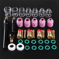FORGELO 41Pcs/lot TIG Welding Torch Nozzle Ring Cover Gas Lens Glass Cup Kit For WP17/18/26 Welding Accessories Tool Kit Set