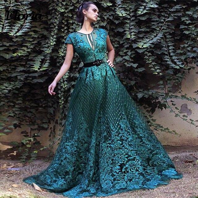 Muslim Dubai Green Evening Dresses Turkish Islamic Formal Prom Dress 2019  Arabic Long Pageant Gowns Abendkleider Robe de soiree 6425fe7aa127