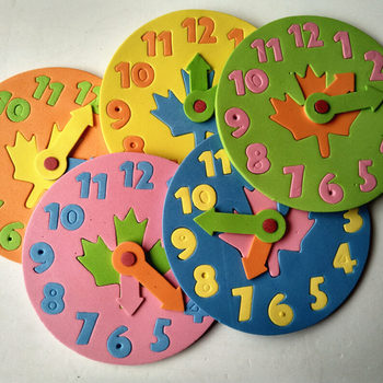 Happyxuan 1 Piece Kids DIY Eva Clock Learning Education Toys Fun Jigsaw Puzzle Game for Children 3-6 years old number