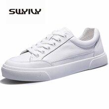 SWYIVY 2019 أحذية نسائية أحذية رياضية بيضاء بولي Leather جلد موضة جديدة الأبيض الفلكنة أحذية رياضية حذاء كاجوال تنفس حجم 40